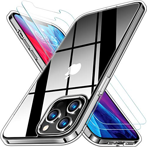 RANVOO Crystal Clear Designed for iPhone 12 Pro Max Case [with 2 x Screen Protectors], Protective Shockproof [Never Yellowing] Cover with Soft TPU Bumper and Transparent Hard PC Back (6.7 inch)-Clear