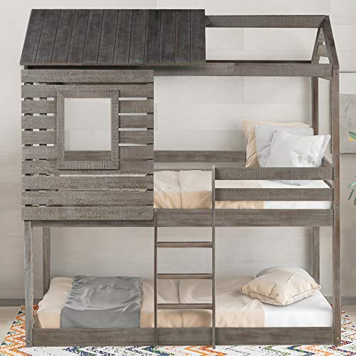Merax House Shaped Solid Wood Bunk Bed with Roof, Window, Guardrail and Ladder for Kids, Teens, Girl or Boys Loft, Twin Over Twin, Antique Gray