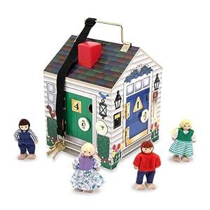 Melissa & Doug Deluxe Wooden Doorbell House & 1 Scratch Art Mini-Pad Bundle (02505)