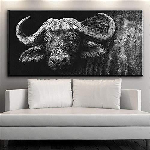 Aquarel kunst gedrukt olifant canvas schilderij menigte van mensen anime muurschildering woonkamer slaapkamer frameloze schilderij 50X100CM