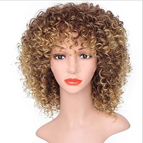 """Nfudishpu 14"""" Short Brown Kinky Curly Wig Jet Black Synthetic Afro Curly Hair Wigs for Black Woman"""