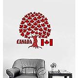 Símbolo de árbol de arce de Canadá Pegatinas de pared Vinilo Tatuajes de pared Bandera canadiense Pegatinas de pared Decoración mural Sala de estar dormitorio 73x77cm