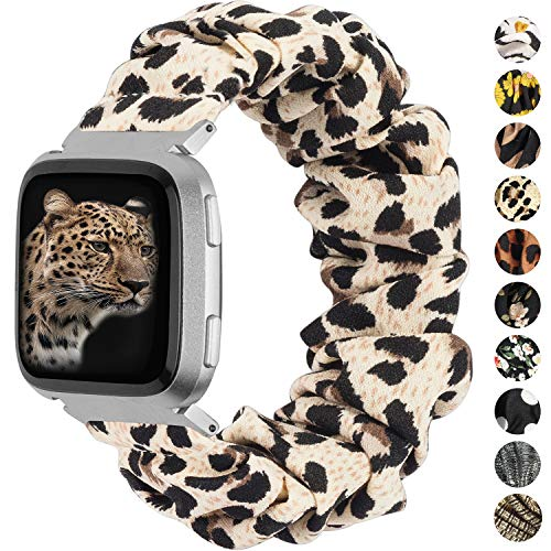 TOYOUTHS Scrunchie Bands Compatible with Fitbit Versa/Versa 2/Versa Lite Special Edition Women Elastic Stretch Fabric Strap Pattern Replacement Bracelet Wristband Accessories(Leopard, Small)
