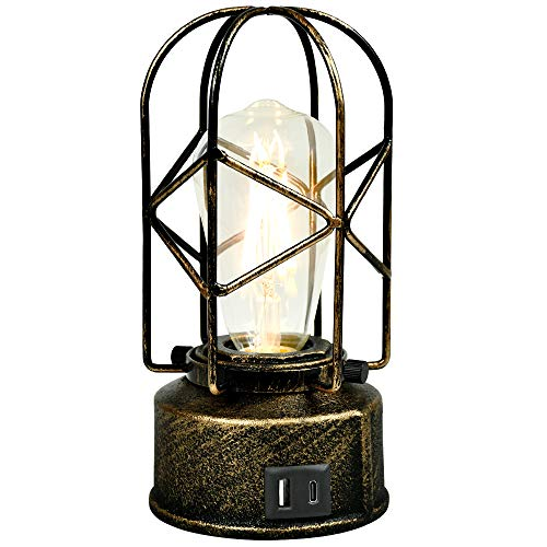 Type-C Vintage Desk Lamp Bedside 3 Way Dimmable and Touch Control,Two Ways to Use USB Industrial Table Light Steampunk Antique Nightstand Lamp Edison Bulb with E26 Base for Living Room with Lampshade