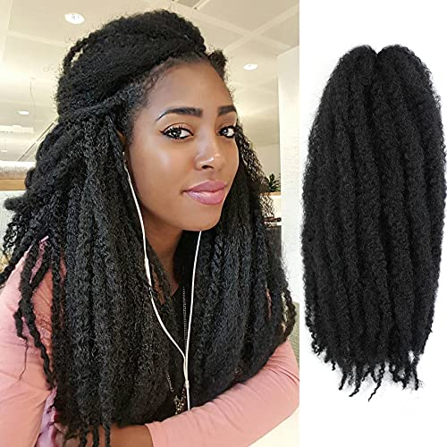 AMELI 6 Packs Marley Braiding Hair for Twists Synthetic Fiber Hair Afro Kinky Hair Marley Braid Hair Extensions (18inch, 1B#)
