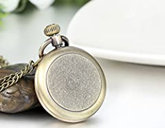 JewelryWe Retro Vintage Roman Numerals Dial Quartz Transparent Glass Lid Pocket Watch Long Necklace Pendant 31.7 Inch Chain (with Gift Bag) #1