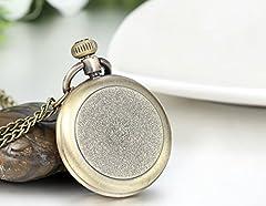 JewelryWe Retro Vintage Roman Numerals Dial Quartz Transparent Glass Lid Pocket Watch Long Necklace Pendant 31.7 Inch Chain (with Gift Bag) #1
