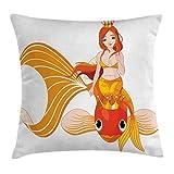 Funda de Almohada Princesa sirena cabalgando sobre peces de colores nadando animales felices Funda d...