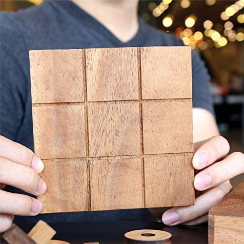 Tic Tac Toe Wooden Board Game Table Toy Player Room Decor Tables Family XOXO Decorative Pieces Adult Rustic Kids Play Travel Backyard Discovery Night Level Drinking Romantic Decorations (Standard)