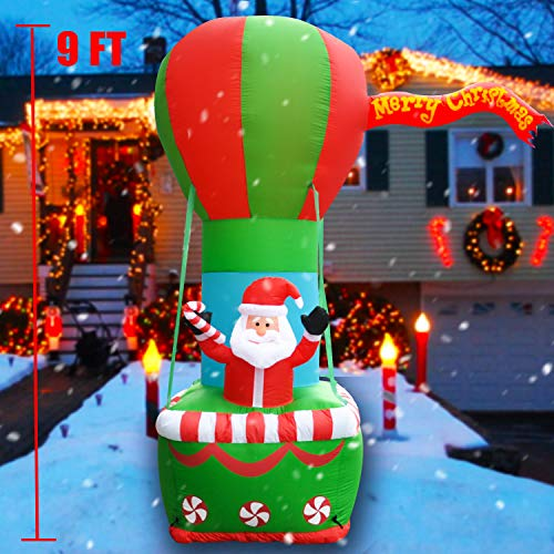 SEASONBLOW 9 FT Christmas Inflatable Santa Sitting on Hot Air Balloon Decoration LED Lighted Blow up Xmas Decor for Outdoor Indoor Lawn Yard Garden Party Home Holiday