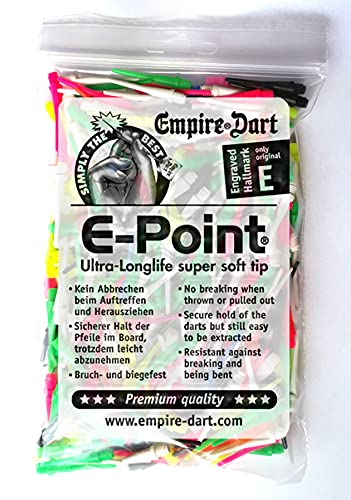 Empire Dart Softdartspitzen - E-Point - 2BA - lang - gemischt - 500 Stück