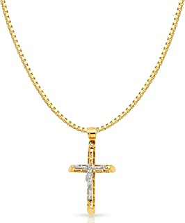 14K Two Tone Gold Jesus Crucifix Cross Religious Charm Pendant with 1.2mm Box Chain Necklace