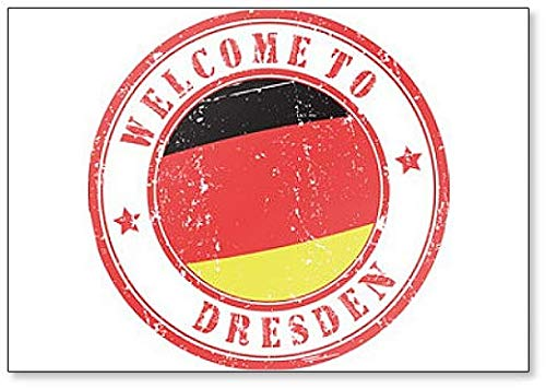 Welcome to Dresden Kühlschrankmagnet, Motiv: Stempel Illustration