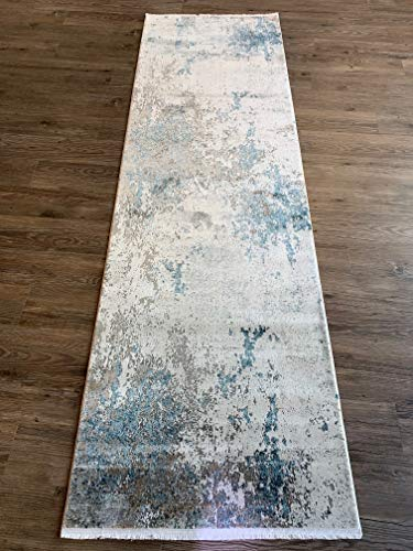 A2Z Rug Luxi Collection - Alfombra, Gris/beige-azul (8444), 80 x 250 - 2'7