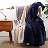 Berkshire Blanket Extra-Fluffy Throw 2 Pack   Super Soft Cozy Throw Blanket   All-Season Plush Warmth   Dark Blue and Tan   2 Pack 55' x 70'