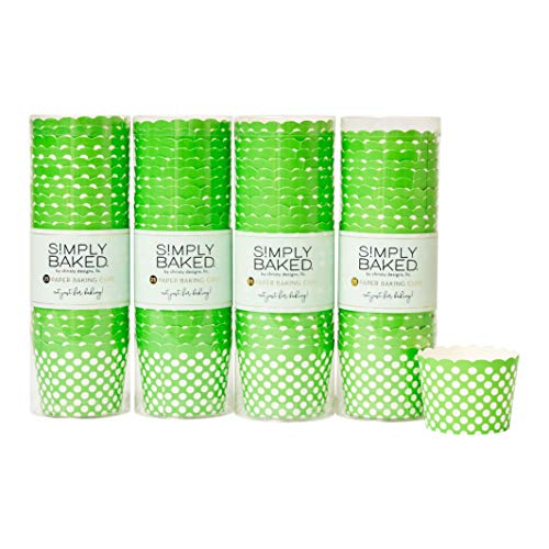 Simply Baked Small 3 Ounce Disposable Paper Baking Cups, 100 Pack of Cupcake Muffin Wrappers for Baking or Party, Treats, Candy, and Snack Cups, Green Dots