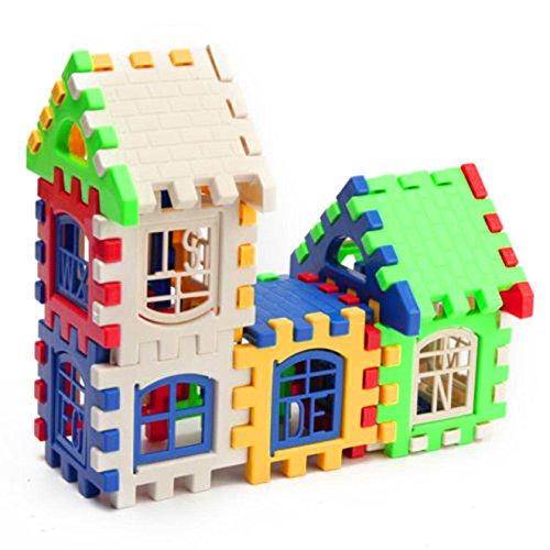 FomCcu 24 unids niños rompecabezas insertado bloques de construcción de plástico montados bloques para niños de jardín de infancia juguetes preescolares