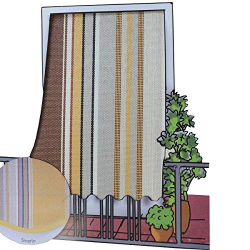 Cortina Toldo para exteriores (150 x 250 cm), de tela mil rayas, con anillas, ideal para balcón / terraza / casa, color marrón