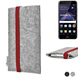 flat.design Handy Hülle Coimbra kompatibel mit Huawei P8 Lite 2017 Dual SIM individualisierbare Handytasche Filz Tasche rot grau