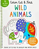 Color, Cut, and Fold - Wild Animals: Lions - Tigers - Elephants - Art Books for Kids 4 - 8 - Boys and Girls Coloring - Creativity and Fine Motor Skills - Kids Origami (Iseek)