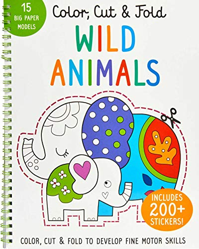 Color, Cut, and Fold: Wild Animals: (Lions, Tigers, Elephants, Art books for kids 4 - 8, Boys and Girls Coloring, Creativity and Fine Motor Skills, Kids Origami) (iSeek)