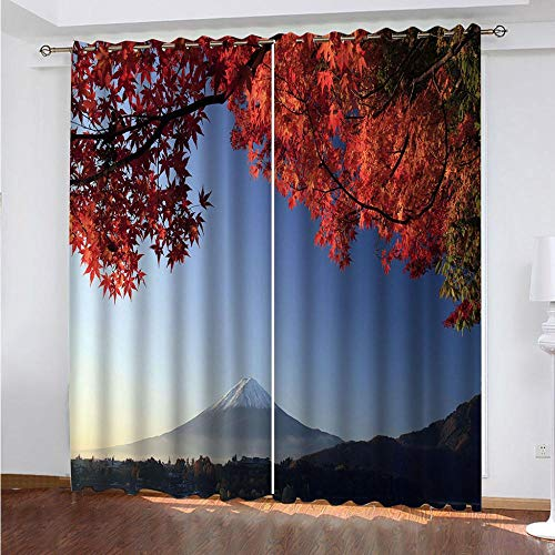 KAOLWY Curtains for Children, Mountains and Red Leaves 280 x 250 cm, Thermal Blackout with Eyelets for Home Modern Decorative Window Balcony Home 2 Panels