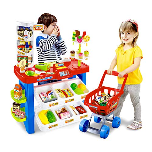 yut 【Fast Shipped from US】 Simulation Supermarket with Shopping Cart - Shopping Grocery Store Playset with Scanner- Children Supermarket Grocery Store Playset, Best Gift for Baby Infant Toddler