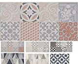MadeInNature Tapis PVC Carreaux Ciment/Tapis en PVC différentes Tailles/Vinyle idéal Style suédois/Tapis de Passage Devant évier/Recouvrement de Sol (60x300cm, Provence Ocre)