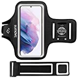 Galaxy S21/S20/S10/S9 Armband, BUMOVE Gym Running Workouts Sports Cell Phone Arm Band for Samsung Galaxy S21 5G, S20, S10, S9, S8 with Key/Card Holder (Black)
