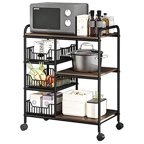 Mueble Microondas Estante de cocina Microondas Horno de microondas- Rack de 3 niveles Soporte de microondas con ruedas Estantería de horno para organizador de cocina Estante de Horno para Microondas
