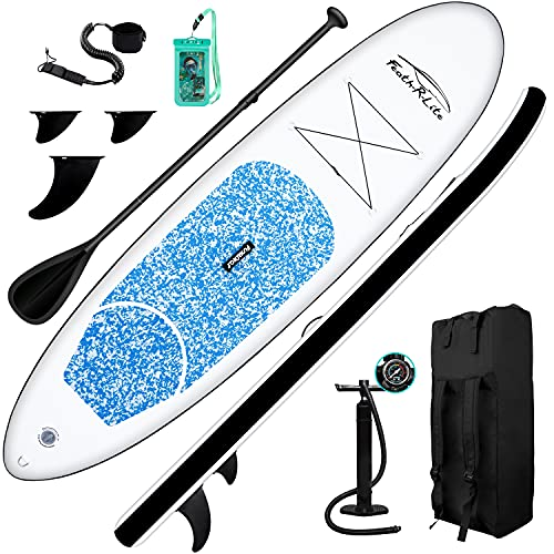 FEATH-R-LITE Stand Up Paddle Board 10'x30''x6'' Ultra-Light (16.7lbs) ISUP with Inflatable Paddleboard Accessories,Three Fins,Adjustable Paddle, Pump,Backpack, Leash, Waterproof Phone Bag