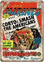 ファイティン・マリーンズ・コミック 金属板ブリキ看板警告サイン注意サイン表示パネル情報サイン金属安全サイン