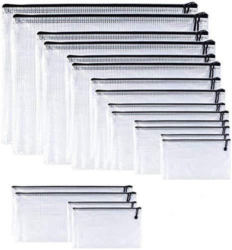 Confezione da 9 pezzi, in plastica, a rete, in plastica, con cerniera, per documenti A3, A4, A5, A6, B4, B5, B6, B8, B8, Bill (nero)