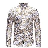 Camisa de los hombres Camisa de hombre Estampado floral Camisa casual de manga larga para hombre Camisa con botones de manga larga Entallada de la camisa de los hombres ( Color : Navy , Size : M )