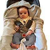 Unisex Grey Baby Car Seat Blanket for Baby and Toddler Boys and Girls by Everyday Kids; Baby Bunting Swaddle Wrap Blanket for Interior Car Seat; Cover Baby and Keep Car Seat Clean