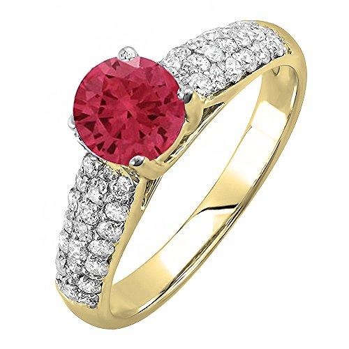Damen Ring / Ehering 14 Karat Gelbgold Echte Rubin & Diamant Pave set Verlobungsring