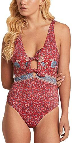 Vrouwen uit een stuk badpak, gedrukt diepe V-hals en borst met bikini Sexy backless zwembroek, Maat: L, Kleur: B (Color : A, Size : XL)
