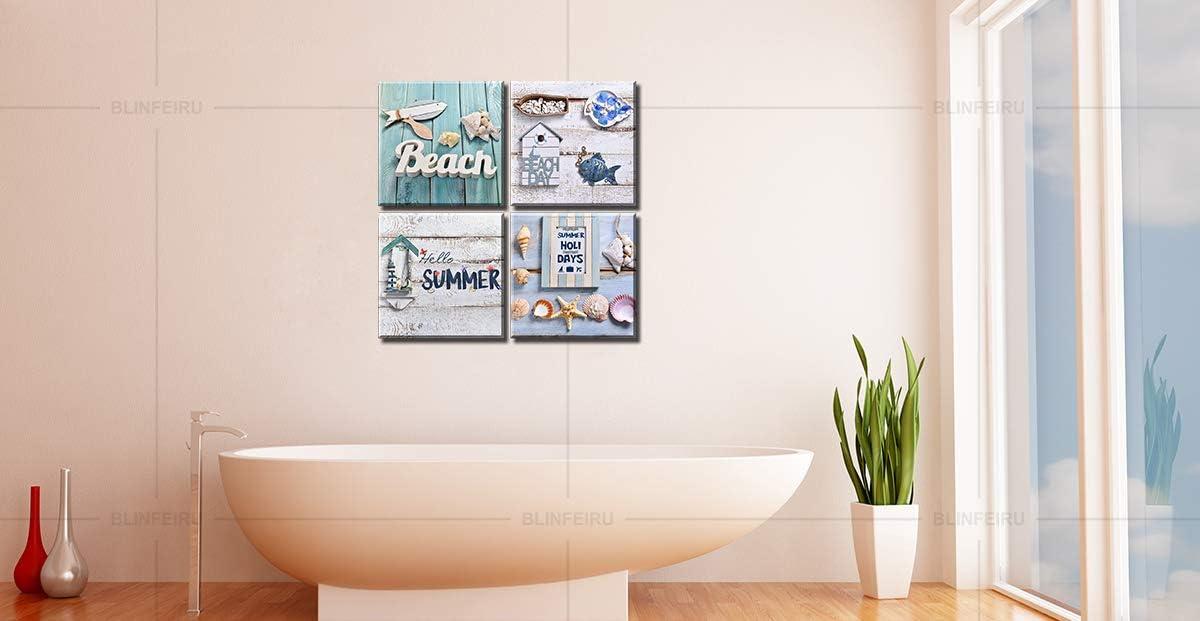 Buy Beach Bathroom Decor Ocean Wall Art Seashell Starfish Pictures Canvas Prints For Kids Room Home Decorations Nautical Modern Artwork Framed 12 12 4 Online In Indonesia B07wvzmhbz
