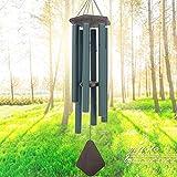 Windspiele Außengroßer Tiefer Ton, 44 Zoll Sympathie Windspiel Unglaubliche Anmut im Freien, Erinnerungswindspiel mit 6 abgestimmten Röhren,Eleganter Klang für Garten, Terrasse,Green