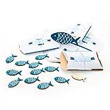 23 Teile Set maritime Tisch-Deko: 10 kleine Geschenkboxen blau weiß türkis + 12 Stück Deko-STREU FISCHE mit Klebepunkt + 1 Deko-FISCH mit 13 x 6 cm zur Taufe, Kommunion, Kinder-Geburtstag, …