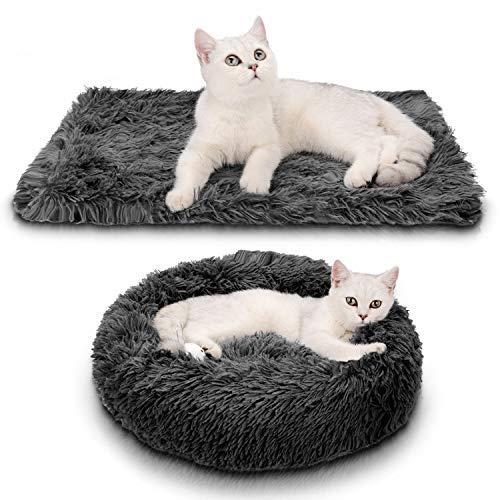 Legendog Katzenbett, Runden Katzenbett Plüsch hundebett 2 Stücke Weich Warm Haustierbett + Haustierdecke für Katzen und Kleine hunde Dunkelgrau 50cm