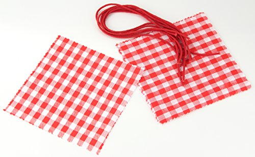 Fackelmann 48309 Set de Couvre-Pots de Confiture avec Cordons 14,5x14,5cm 12 Pieces Rouge/Blanc, Coton, 5 x 14,5 x 0,5 cm