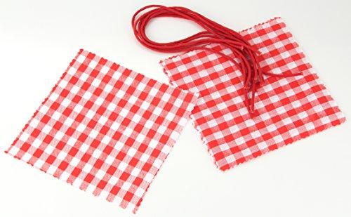 Fackelmann Schmuckdeckchen mit Kordel, Verzierung für Einmachgläser, Marmeladendeckchen aus Baumwolle (Farbe: Rot/Weiß), Menge: 6 Stück