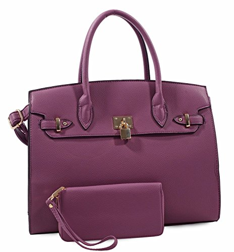 Deluxity LARGE Carry-all Padlock Accent Tote w/ Strap + Wallet- Purple
