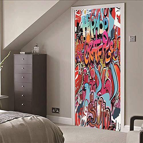 LEOLJC Türtapete TürPoster Selbstklebend Graffiti 3D Türaufkleber Türfolie PVC Wasserdicht Ölfest Tapete Fototapete für Tür Wohnzimmer Schlafzimmer Küche und Bad 77x200cm