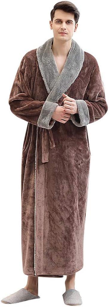 Litetao New Mens Flannel Long Rob Soft Warm Bathrobe Housecoat Splice Pajamas Sleepwear