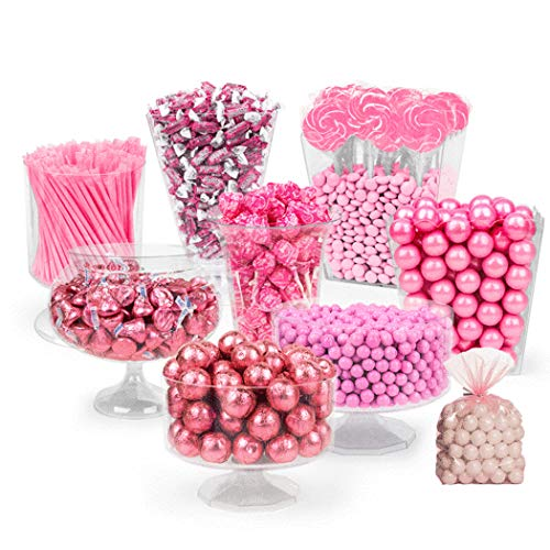 Pink Candy Buffet - (Approx 14lbs) Includes Hershey's Kisses, Sixlets,Gumballs, Dum Dum Lollipops, Frooties & More - Free Cold Packaging