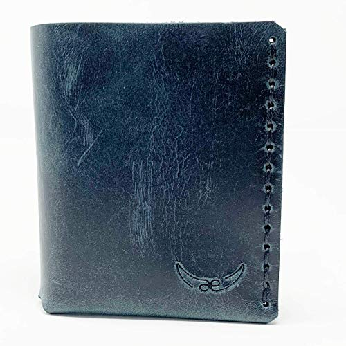 blauer mini Männer Leder Geldbeutel, handgenäht & metallfrei Heritage Style Handwerk aus Bayern