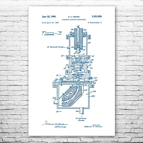 Patent Earth Scanning Electron Microscope Poster Print, Science Teacher Gift, Physics Art, Student Gift, Laboratory Decor