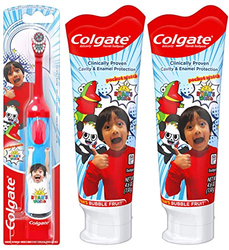 Colgate Kids Toothpaste Gel with Fluoride Twin Pack and Battery Powered Toothbrush Set, Ryan's World